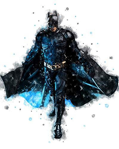 Batman Poster, Batman Print, Batman Watercolor Superhero Print, DC Comics Print, Nursery Bedroom Superhero Gift, Justice League Poster, Batman Art (XL - 24 x 36 inch (61 x 91 cm))