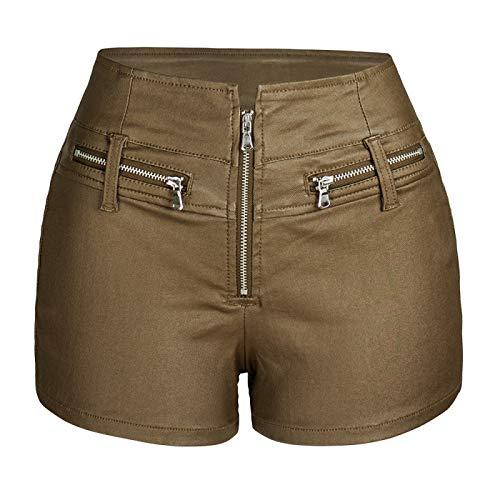 Corumly Pantalones Cortos para Mujer Pantalones Cortos de Cuero de Motocicleta elásticos de Cintura Alta de Europa y América Pantalones Cortos con Cremallera Personalizados S