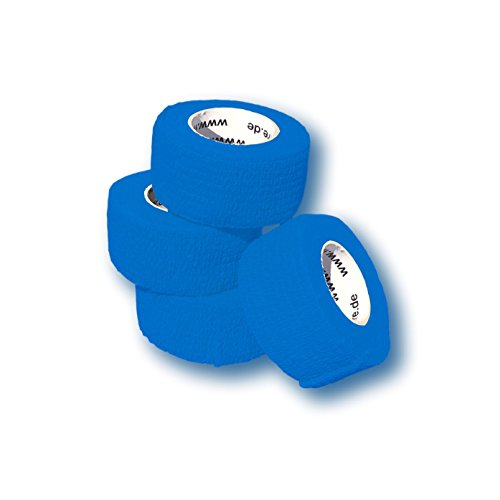 LisaCare Fingerpflaster selbsthaftend - elastisches, wasserfestes, staub- fett- und schmutzabweisendes Pflaster - BLAU - 4 Rollen á 2,5cm x 4,5m