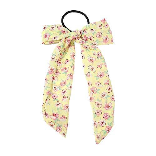 Chouchou à cheveux élastique en mousseline de soie Motif floral, jaune, 9 cm