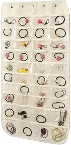 Organizador de joyas colgante de doble cara, 40 bolsillos y 20 ganchos mágicos para armario, no tejido, plegable, para niñas, con colgador, color beige