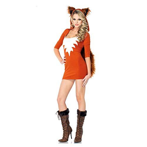 GBYAY Disfraz de Zorro Demonio a Cuadros para Mujer Disfraz de Zorro Animal para Fiesta de Halloween Disfraz Uniforme de niña de la Escuela