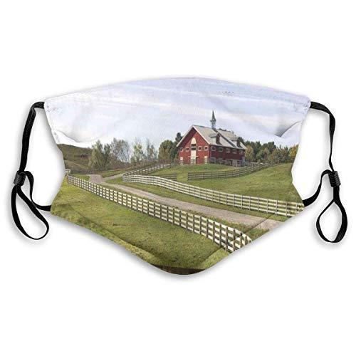 BDGAjdka Wiederverwendbares Gesichtsschutz-Mund-Schrott-langes Foto des fließenden Zauns des Landhauses im ländlichen Grasland-Ranch-pastoralen Füllstoff-Stoff für Erwachsene