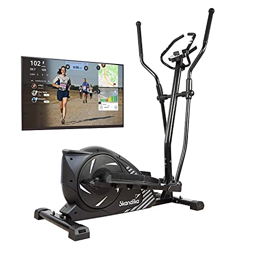skandika Crosstrainer Eleganse | Design Fitness Hometrainer mit Bluetooth, App-Steuerung (z.B. Kinomap), Tablethalterung, Magnetbremssystem, 12kg Schwungmasse, 32 Stufen | bis 130kg | schwarz