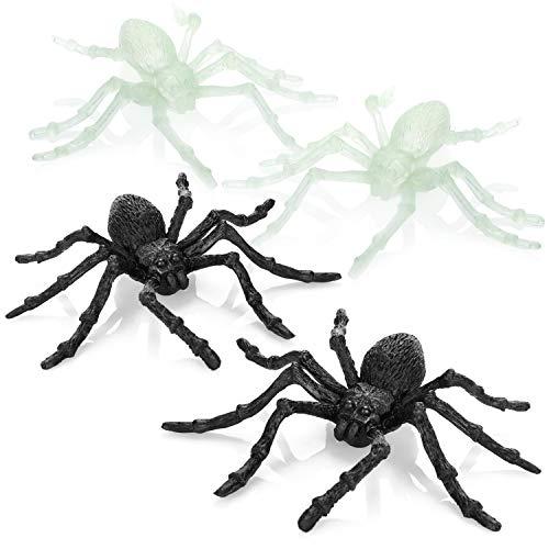 com-four® 4X Araña - Araña de plástico Realista - Arañas espeluznantes con Patas móviles - Araña rastrera para Halloween y Fiestas temáticas [la selección varía]
