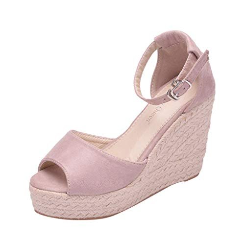 Buy Discount KCPer Womens Platform Wedges Sandals Classic Open Toe Ankle Strap Shoes Espadrille Sand...