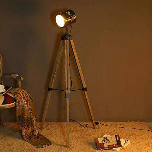 Staande lamp Café massief houten vloerlamp eenvoudige Creative Searchlight woonkamer slaapkamer retro industrie wind massief hout statisch lamp Brons