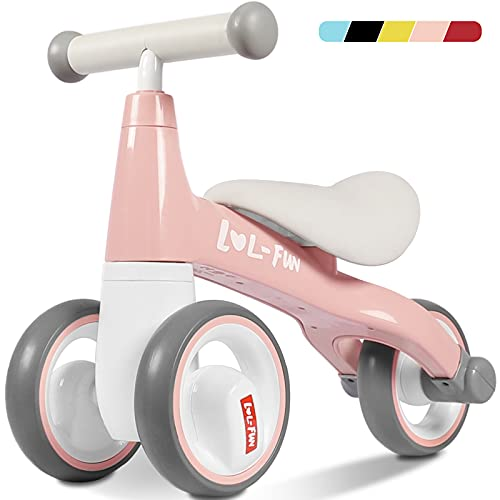 LOL-FUN Baby Balance Bike for 1 Year Old Boy and Girl Gifts, Toddler Bike for One Year Old First Birthday Gifts - Pink