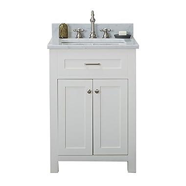 Alya Bath HE-101-24-W-CWMT Norwalk Single Bathroom Vanity with Carrera Marble Top and No Mirror, 24 , White