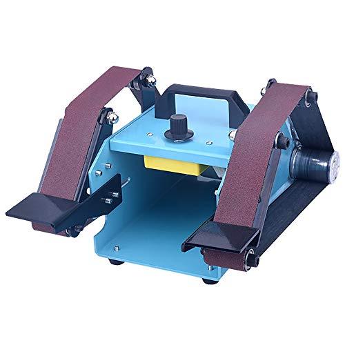 Levigatrice a nastro multifunzionale, macchina da banco a nastro abrasivo ad angolo regolabile da 950 W a doppio albero con carta vetrata per legno metallo