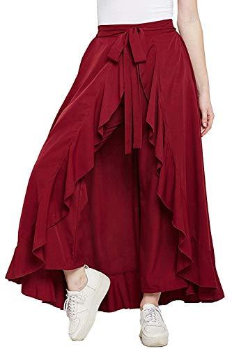 AALIYA FASHION Women's Ruffle Pants Split High Waist Maxi Long Crepe Palazzo Overlay Pant Skirt