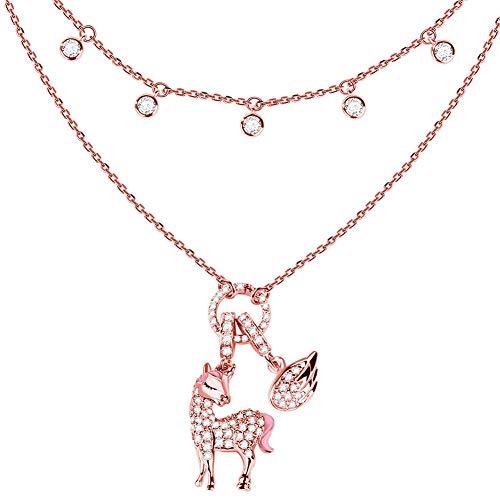 """Gnoce Damen-Kette mit Einhorn Anhänger 925 Sterlingsilber""""Göttliche Seele und Geist"""" Rose Gold Charm Halsketten Geschenke Bijouterie für Damen (1Roségold)"""