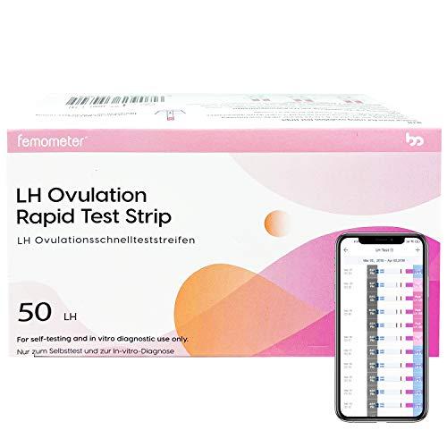 Femometer 50 x test ovulazione, Monitoraggio Attendibile del Ciclo e del Periodo Fertile Combinato con app (iOS & Android), 50 test di ovulazione