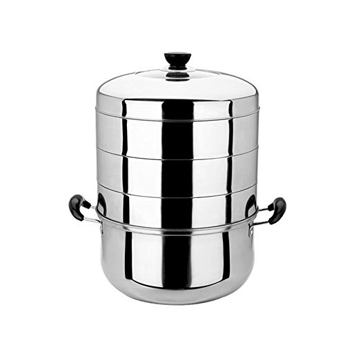 Stainless Steel Steamer, YQAD Chinese Multi-Layer Thicken Composite Bottom Energy-Saving Original Flavor Multi-Purpose Food SteamerInduction Cooker Gas Stoves General Purpose Pans With Lid 28/30cm-30C
