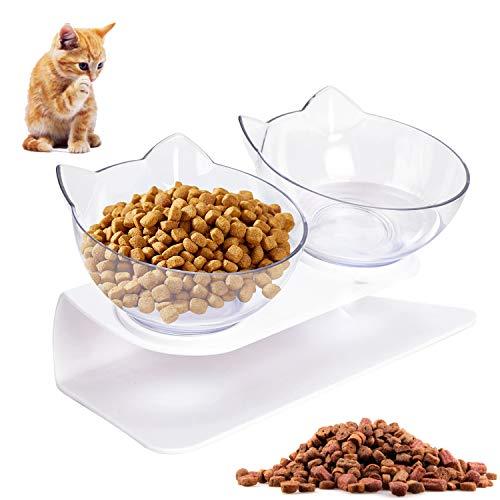 LOVEXIU Katzen Futternapf Katzennapf Fressnapf Katze HundenäPf Doppelte KatzennäPfe mit ErhöHtem StäNder Futterspender Katze Katzennapf Plastik