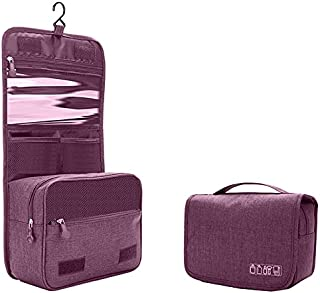 Travel Cosmetic Storage, Portable Toiletry Bag with Hanging Hook and Zippers Durable Folding Makeup Bag Hanging Organizer ...