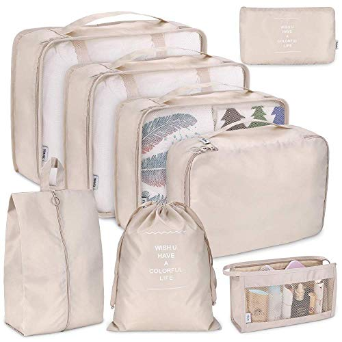Waterproof Travel Storage Bag Travel Luggage Organiser Bag Packing Cubes for Travel Waterproof Seal Saves Time and Space for a Variety of Suitcase Storage (8pcs) Beige