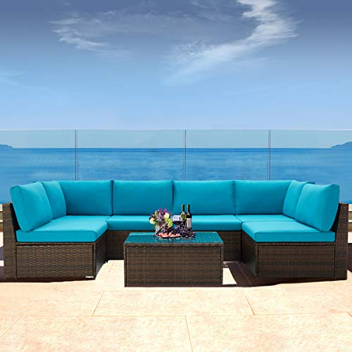 U-MAX 7 Pieces Patio Furniture Set, Brown Wicker Rattan Patio Conversation Sets, All-Weather Outdoor Combination Sofa with Glass Table and Blue Cushion