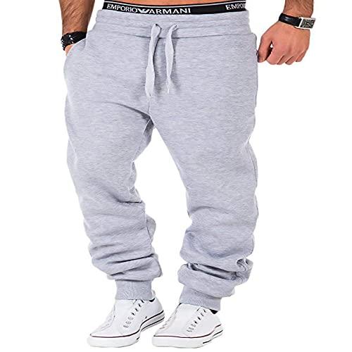 Pantalones Deportivos para Hombres Pantalones Deportivos Sencillos y Rectos Sueltos de Color sólido Pantalones Deportivos cómodos Europeos y Americanos S