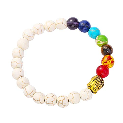 PULABO 7 Chakra Buddha Head Beads Multicilor Stone Bracelet Bangles Yoga Jewelry Gift Sturdy and Cost-Effective Practical, Cost-Effective