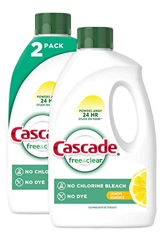 Cascade Free & Clear Gel Dishwasher Detergent Liquid Gel, Lemon Essence, 2 Count (60 fl oz ea)