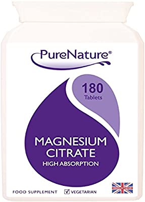 Magnesium Citrate High Absorption & Strength with Added Calcium / 180 One-a-Day Vegetarian Tablets Made in UK for PureNature |100% QUALITY ASSURED MONEY BACK GUARANTEE + FREE UK DELIVERY from Ditributed by Be-Beautiful-Online