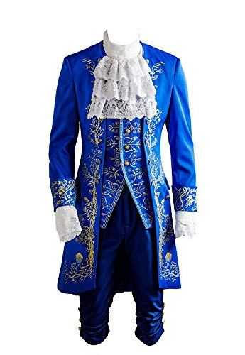 Belle beest Suit Prince Cosplay kostuum heren Blauw XXXL