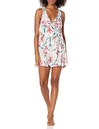 La Blanca Women's Standard Romper Swimsuit Cover Up, White//Flyaway Orchid, X-Small