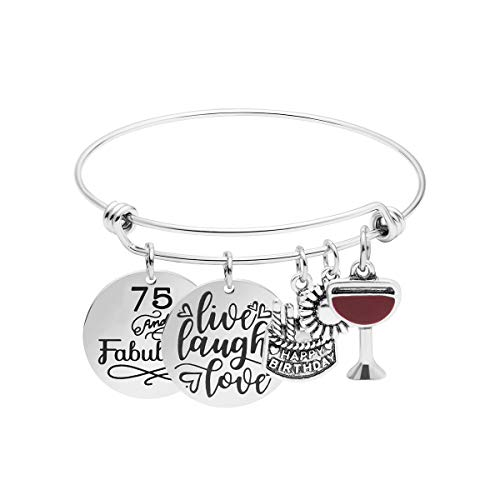 75th Birthday Gift for Women Inspirational Motivational Encouragement Fabulous Live Laugh Love Cake Charms Expandable Braceletfor Wife Sister Mother Grandma Aunt Her