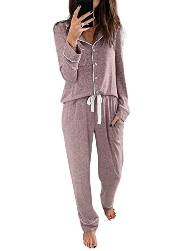 Sidefeel Women Long Sleeve Button Down Shirt with Pants Casual Pajama Sets Medium Pink