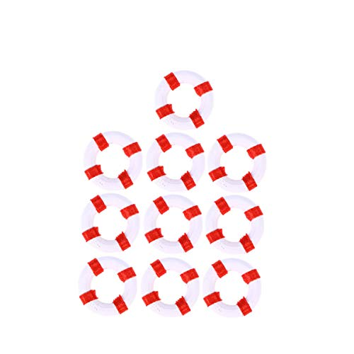 VOSAREA 10 STÜCKE Mediterranen Stil Schwimmring Rettungsring Harz Figur Handwerk Miniatur Ornamente (rot)