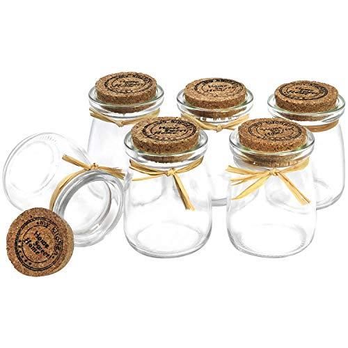 com-four® 6x Mini Glasfläschchen mit Korkverschluss für Salz, Pfeffer, Gewürze, Kräuter, Öle und Gastgeschenke, 100 ml (06 Stück - Gewürzglas)