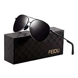 FEIDU Sunglasses man – Pilot sunglasses mens with Ultra-Light Metallic Metal Frame and Women Mens sunglasses FD9002