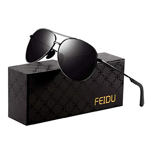 FEIDU Sunglasses man – Pilot sunglasses mens with Ultra-Light Metallic Metal Frame and Women Mens sunglasses FD9002