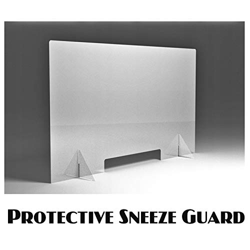 SPEEDYORDERS Protective Sneeze Guard, Clear Acrylic Plexiglass Shield For Counters, Food Screen, Transaction Window for Employers, Workers & Customers, Barrier Against Cough & Sneezing (80 x 60 cm)