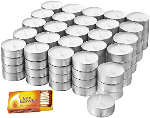 DORAZEN Pack de Velas GLIMMA de té x100 Uds Blanco (Pack-White) mas 1 Caja de cerillas de Regalo.