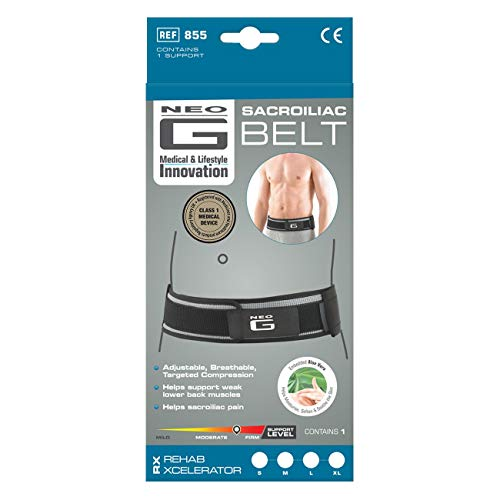Neo G Sacroiliac Belt - Support For Lower Back, Sacroiliac & Lower Back Pain, Breathable, Instability & Weak Lower Back Muscles - Adjustable Belt - Class 1 Medical Device - Small - Grey
