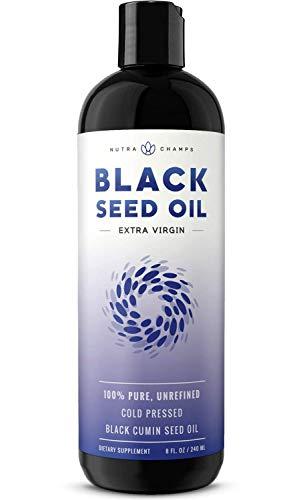 Organic Black Seed Oil - Premium Nigella Sativa Black Cumin Supplement with Thymoquinone & Omega 3 6 9-100% Pure, Extra Virgin, Unrefined, Cold Pressed, Unfiltered, Vegan 8oz