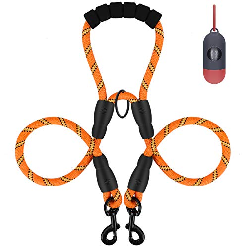 Double Dog Leash, Dual Dog Walking Leash, Shock Absorbing Training Leash with Sponge Handle, Reflective Heavy Duty Dual Leash for Two Dogs, Dog Harness or Collar (with Waste Bag Dispenser)