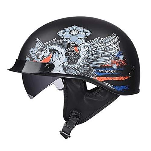 Casco Moto Abierto, Medio Casco De Motocicleta Retro,Dot Homologado Retro Half Moto Cascos Helmet Casco del Viaje Crucero Bicicleta Casco