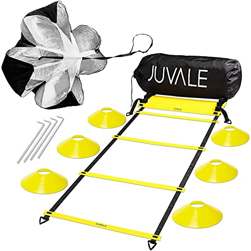 Juvale Kit d'Entraînement Sport et Football pour Vitesse et Agilité - Comprend une Echelle de Rythme, 6 Cônes, un Parachute de Résistance, 4 Sardines en Acier avec Sac de Transport - Noir, Jaune