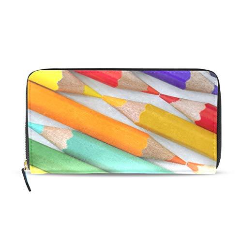 Colorful Pencils Line Women Wallet RFID Zip Long Wallets Phone Travel Card Holder Purse Clutch Multi Card Case
