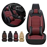 Luxury Car Front Seat Covers PU Leather for BMW I3 2013-2018 with Headrest&Lumbar Support Black red