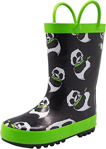 NORTY - Girls Panda Bears Print Waterproof Rainboot, Black, Lime 40145-11MUSLittleKid