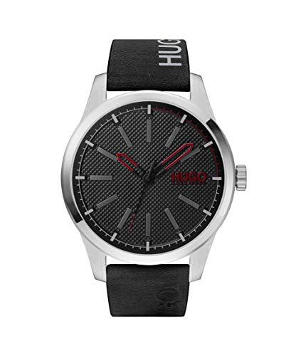 HUGO by Hugo Boss #INVENT Reloj de cuarzo de acero inoxidable con correa de piel de becerro, negro, 22 (Modelo: 1530146)