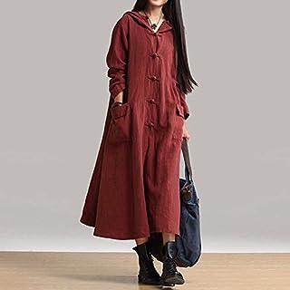 Funien Spring Autumn Women Vintage Dress Hooded Long Sleeve Casual Loose Solid Cotton Dress Burgundy/Dark Blue/Black