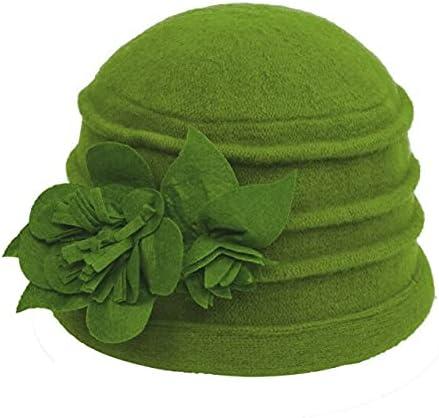 Zboro Women's Fedora Hat Ladies Elegant Wool Flower Hat Winter Vintage Cloche Bucket Cap Woman Party Headwear Chapeau Femme - Green - One Size