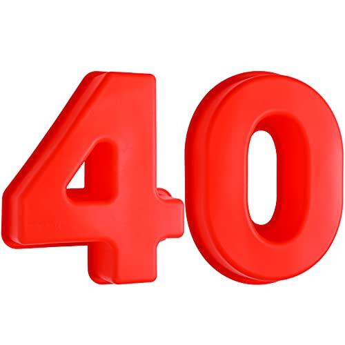 Moldes de Número 40 para Pastel Moldes de Silicona de Número Grande 3D de 40 para Hornear Pastel Molde Antiadherente de Número 40 para Tartas para Suministro de Cumpleaños Boda Aniversario