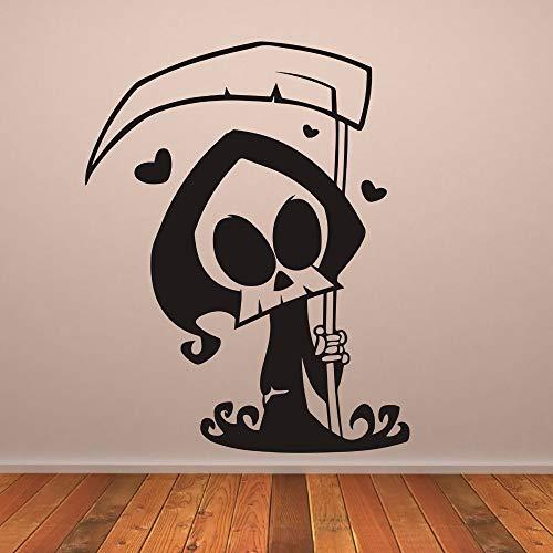 Dibujos animados lindo Grim Reaper pegatinas de pared para la sala de estar Halloween Hearts Vinyl Wallpaper calcomanías Inicio Murales de Halloween 57X73cm