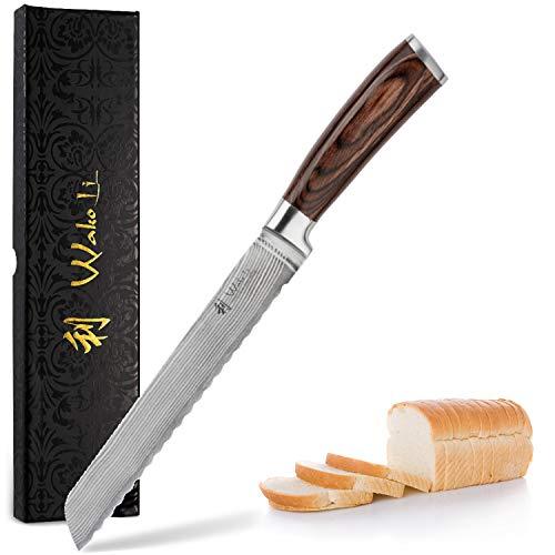 Wakoli Damastmesser Brotmesser, Klinge 20,50 cm Länge - sehr hochwertiges Profi Brotmesser mit Damastklinge und Pakkaholzgriff, Küchenmesser, Kochmesser